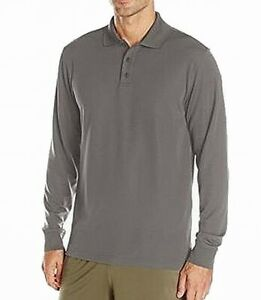 Under Armour Mens Shirt Gray Size Large L Stretch Polo Long-Sleeve $54 151