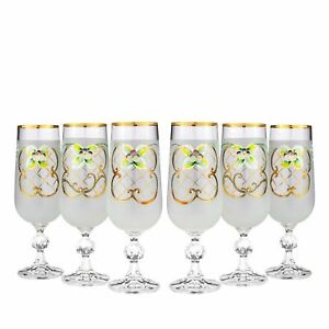 Bohemian Crystal Enameled Colored Champagne Flutes, Vintage White Glass Set of 6