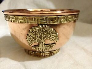 TREE OF LIFE Copper Offering Bowl 3 Inch Incense Burner Wicca Pagan