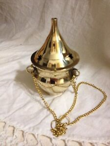 Brass Hanging Incense Burner Wiccan Pagan Metaphysical 01
