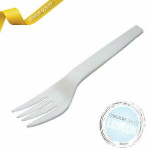 Organic Disposable Forks White Compostable Cutlery I Bioplastic Sturdy 15 cm Hei