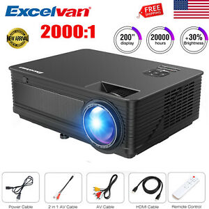 LED LCD Projector Full HD 1080P VGA AV USB Video Multimedia Home Theater 7000LM