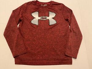 Boys Under Armour Black Red Logo Heatgear Long Sleeve Shirt Youth Small YSM