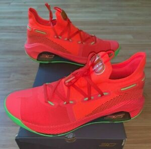 New Under Armour Curry 6 Red Black Green Mens Size 12 Basketball Shoe 3020612-60