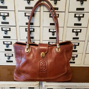 MARINO ORLANDI Designer Brown Leather Shoulder Handbag Made in Italy Tote Purse