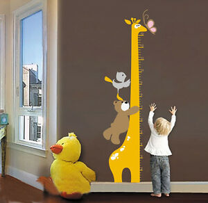 Removable Cartoon Giraffe Children Kid Growth Height Chart PVC Wall Sticker_WK
