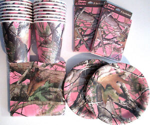 PINK HUNTING CAMO Birthday Party SupplyPack w Plates Napkins Cups amp; Invites