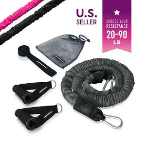 The X Bands Nylon Sleeve Covered Premium Resistance Tubes w. Handles Door Anchor