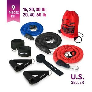The X Bands 3 Nylon Sleeve Covered Premium Resistance Tubes Handles Door Anchor