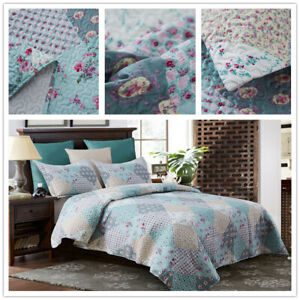 3 Piece King Size Quilt Set Blanket Bedspread w/ 2 Matching Pillow shams