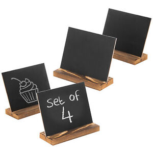 MyGift Tabletop 6-Inch Chalkboard Signs with Burnt Wood Base Stands, Set of 4