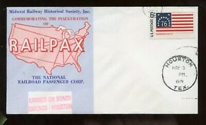 SALE$3 US Railroad Event Cover RAILPAX Inauguration Chicago Houston 1971