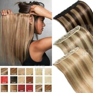 Real Hair Extensions Clip in Thick One Piece 100% Remy Human Hair Long Mix Weft $26.15