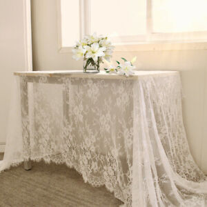 Rectangle Floral Lace Tablecloth White Vintage Table Cloth Cover Wedding Party