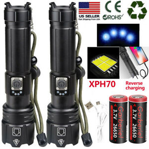 990000LUmens XHP70 Super Bright LED USB1865026650 Rechargeable Zoom Flashlight