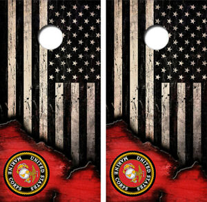 United States Marines American Flag Cornhole Board Wraps Decal #3447