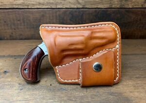 Leather Pocket Holster & Ammo Pouch  NAA 22 Mag 1 18 or 1 58 -  Fits RangerII
