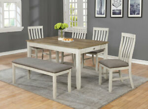 Modern 6pc Dining Set Two-Tone Finish Chairs & Bench Storage Table Drawer Set