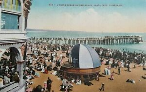 Postcard C.1900's Santa Cruz Ca Beach Scene with Music Stage Rare