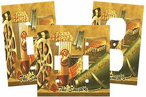 VINTAGE MOVIE POPCORN SODA FILM THEATER LIGHT SWITCH PLATE COVER HOME DECOR