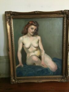 Vintage Nude Woman Oil Painting Mid Century Framed Signed Proser $375.00