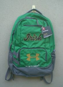 Notre Dame Irish Under Armour Hustle Storm1 Green Backpack  - Free Box Shipping!