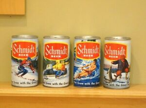 Vintage Breweriana Schmidt Beer Cans Set of 4 Ice Fishing Skiing Snowmobiling