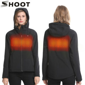 SHOOT Women Slim Fit Heated Jacket Warm Heating Coat with Battery Pack and Hood