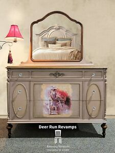 READ DESCRIPTION Antique Cherry Wood Refinished Dresser Buffet With Mirror