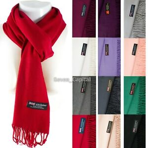 Mens Womens Winter Warm SCOTLAND Made 100% CASHMERE Scarf Scarves Plain Wool $6.49