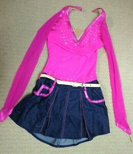 Del Arbour Ladies Skating Dance Dress  pink and denim- Size Ladies 4-6