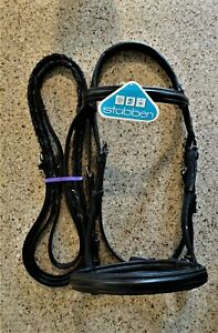 NEW! Stübben Cut-Crown Snaffle Bridle & Reins~Cob Black; Anthracite Fittings