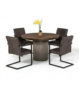 Beautiful Dining Room Set 5 Pc Round Oak & Concrete Dining Table Chair Set