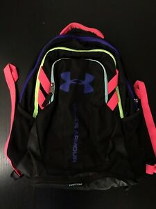 Under Armour Storm Backpack, Black W Pink, Green And Purple Features $40.00