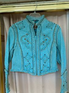 Double D Ranch Turquoise Leather Designer Jacket