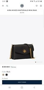 NWT Tory Burch Black Kira Mixed-materials Mini Crossbody Bag $328