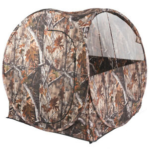 Portable Hunting Tent Blind Waterproof Camouflage Ground Blind w Mesh Window