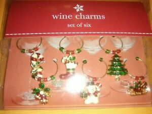 Target Christmas Holiday Wine Charms Set Of 6 - New In Box