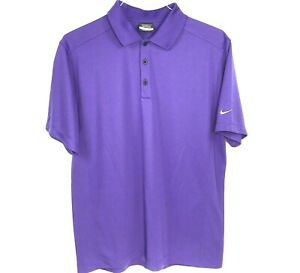 NIKE GOLF Dri-Fit Mens L Polo Shirt SS Solid Purple White Swosh Logo
