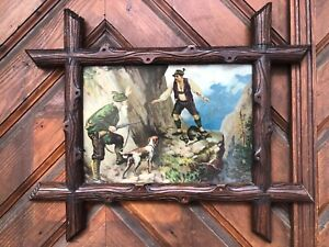 OLD BLACK FOREST HUNTING POACHER PICTURE LITHOGRAPH RINGEILEN GERMANY c1890