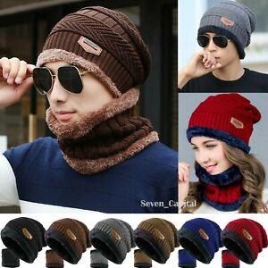 Mens Womens Winter Baggy Slouchy Knit Warm Beanie Hat and Scarf Ski Skull Cap $9.49