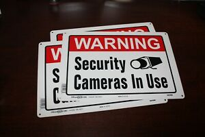 WARNING SECURITY CAMERAS IN USE 3 SIGNS 10 x 14 Aluminum metal Hillman