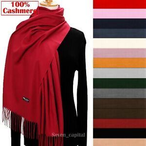 Womens Mens 100% Cashmere Scotland Oversized Blanket Wool Scarf Shawl Wrap Solid $11.99