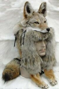REAL Coyote Head Mountain Man or Woman Hat Real Fur Large Skin Pelt Hunting