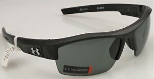 UNDER ARMOUR Polarized IGNITER Sunglasses Men's Satin Black Frame Grey Lens NEW