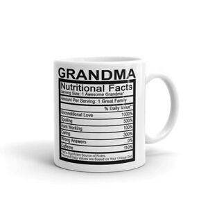 Grandma Detailed Nutritional Facts Label Coffee Tea Ceramic Mug Office Work Cup