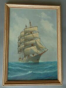 Antique Oil Painting by Luca Papaluca of Sailing ship ca. 1920's