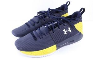 NEW mens blue yellow UNDER ARMOUR UA Drive 4 low basketball shoes 3020414 15 M