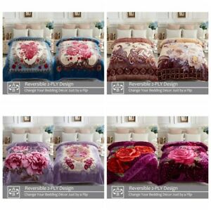 Fleece Mink Thick Blanket 2 ply Printed Warm Korean Style Bed Blankets 77quot; x 87quot;