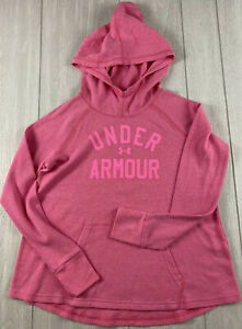 Under Armour Girls Youth Pink Thermal Hoodie Pullover Size XL A+ Condition Cute